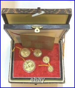 1990-P China 5 Coin Panda 999 Gold Proof Bullion Set 1.9 Oz in Box with COA