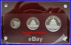 1990 panda 1/2oz 1/4oz 1/10oz platinum coin 3pcs set with coa and box