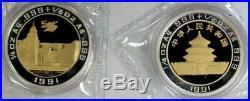 1991 China Gold & Silver Bi Metalic Pandas Hong Kong 25 Yuan 2 Coin Box Coa Set