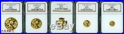 1992 Gold Chinese Panda 5-coins Set 100y 50y 25y 10y 5y Ngc Ms69 Ms-69 China