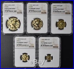 1992P Gold China Panda Proof Coin Set Rare Key Date 806 Sets Total NGC