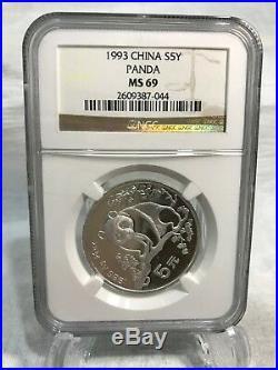 1993 1998 Panda 5 Yuan 1/2oz Silver Coin NGC 69 Set