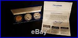 1993 China Panda 3 Coin Set, BU + Proof, 2 oz of Fine Silver + Copper NO RESERVE