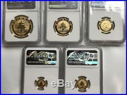 1994 China Gold Panda Large Date 5 Coins Set Ngc Ms 69