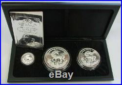 1994 SILVER CHINA PROOF UNICORN 3 COIN YUAN 12oz 5oz & 1oz SET BOX & COA