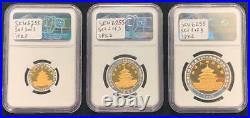1996 China Panda Gold&Silver Bimetallic 3 coin set (1/10, 1/4, & 1/2 oz gold)