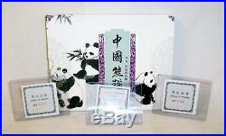 1997 1998 1999 China Colored Silver Proof Panda 5 Coin Set