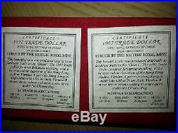 1997 Hong Kong Silver Proof $1 One Trade Dollar 2 Coin Set Coa Returns To China