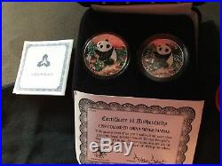 1998 China Colorized Silver Coins The Chinese Panda 1, 1/2 oz Set Lot with COA