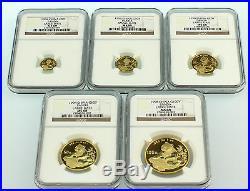 1998 China Large Date Gold Panda 5 Coins Set NGC