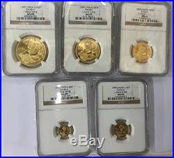 1998 large date panda 1.9oz gold 5pcs coin set NGC MS69