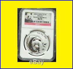2001-2017 China 10y 17 Oz Silver Panda 17 Coins Perfect Complete Set Ngc Ms 70