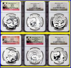 2001-2018 China 10y 18 Oz Silver Panda 18 Coins Perfect Complete Set Ngc Ms 70