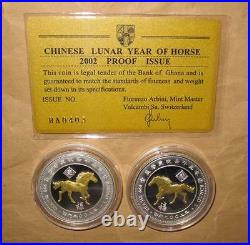 2002 GHANA year of HORSE(Gilded) $100 S PROOF(PP) silver 2 coins set with COA