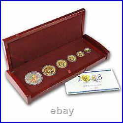 2003 China 5-Coin Gold Panda Prestige Set (withBox & COA) SKU#61791