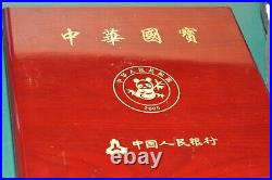 2003 China Panda Set 5 Coin Gold Trim and Silver Plated