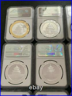 2005 2019 China 10y Commemorative Silver Panda 20 Coins Perfect Set Ngc Ms 70