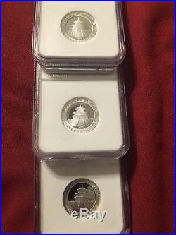 2007 CHINA Silver 3 Yuan Panda Set 3 Coins. All Proof 70 Ultra Cameo  3 Coin