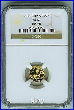 2007 China Gold Panda 20 Yuan NGC MS 70. Registry Set Coin