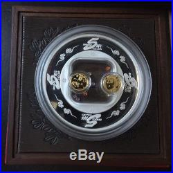 2007 Gold panda coin 5th Anni ShangHai Gold Coin Inc Silver Medal Crystal Set