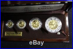 2007Year of the Pig Panda Lunar Prestige set of 4 Fine Gold & Silver Coins(OOAK)