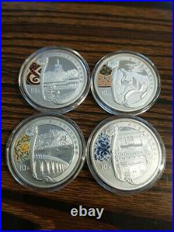 2008 China Beijing Olympics 4 10 Yuan 1 oz Silver Coins Set 2 Coins Only