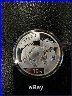 2008 set 1oz Silver and 1/10 oz Gold Panda Coin Set in box set