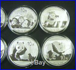 2009 2010 2011 2012 2013 2014 2015 2016 Chinese 1oz Silver Panda coin China set