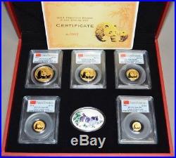 2011 China Complete 5 piece Prestige Gold Panda First Strike Set Gem BU PCGS COA