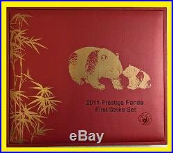 2011 China Gold Panda Prestige 6 COINS Set PCGS Gem BU First Strike Flag Label