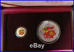 2011 China Year of the Rabbit 1/10 oz. Gold and 1 oz. Silver Colorized Coin Set