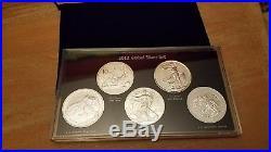2012 -5 coin 1oz. 999 SILVER GLOBAL COIN SET US/CHINA/AUSTRALIA/G. B. /Somali with