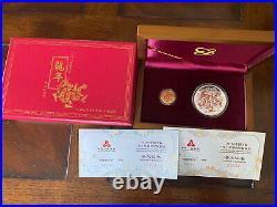 2012 China Dragon one ounce color silver And 1/10 ounce color gold coin set, COA
