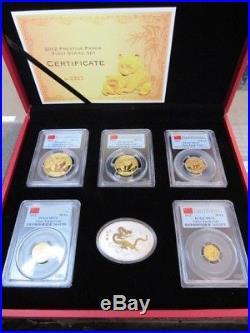 2012 Gold Panda Prestige Set First Strike Pcgs Ms70 6 Coin Set