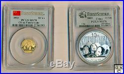 2013 China Panda 10yn Silver & 50yn Gold 2 coins set PCGS graded MS70.999(OOAK)