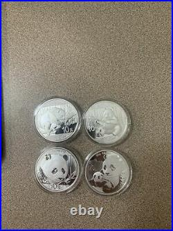 2016-2019 1oz Chinese Silver Panda (4 Coin Set)