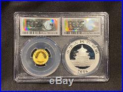 2016 Bimetallic Panda Set 30 g Silver Panda & 3 g Gold Panda PCGS MS70