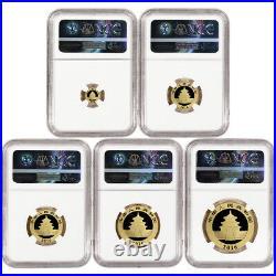 2016 China Gold Panda 5-pc. Year Set NGC MS70 Red Panda Label