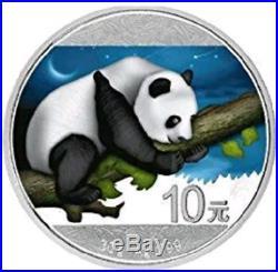 2016 China Panda Day & Night Colorized 2 X 1oz. 999 Silver Coin Set Box & COA