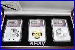 2016 China Panda Moon Festival Set (1oz Silver, 1oz Gold, 2oz Silver) NGC PF70 UC