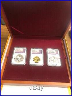 2016 Moon Festival Panda 4 Coin Set Graded Proof 70 First Strike Box&COA