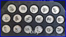 2017 35Th anni gold panda coin issuance silver panda medal set 102gram 34pc COA