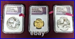 2017 Panda Moon Festival China 3 Piece Set Rare Coins PF70 Cameo One First 500