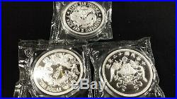 2018 & 2019 China Dollar Restrike 3 Silver Coin Set Mint Sealed