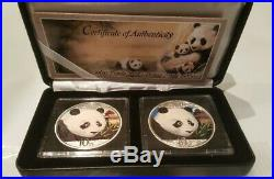 2018 China 2 Coin setSilver Colorized Panda day and nightCOA#334/350