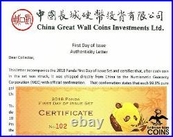 2018 Chinese Gold Panda 1st Day of Issue Chao SIGNED NGC MS70 3-Coin Box Set