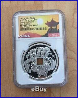 2018 NGC PF70 China Dragon Phoenix Silver Proof 2 Coin Set 2oz 1oz Matching COA
