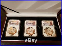 2019 China Pandas from 3 Chinese Mints NGC MS70 Signed by Tong 3 Coin Set