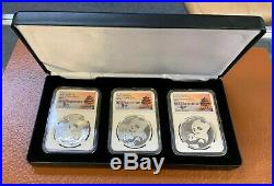 2019 China Silver Panda NGC MS70 3 Coin Set from 3 Chinese Mints, Signed, Lmt Ed