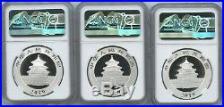 2019 (G, S, Y) China Silver Panda 10 Yuan NGC MS 70 First Releases-Set of 3 Coins